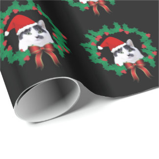 Cat Wearing Santa Hat Wrapping Paper
