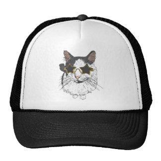 Cat Wearing Star Glasses Trucker Hat