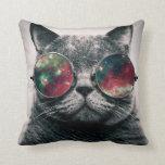 cat wearing sunglasses throw pillow