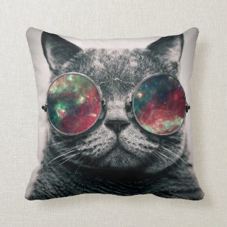 cat wearing sunglasses throw pillows