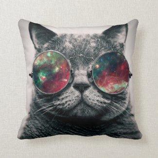 cat wearing sunglasses throw pillows