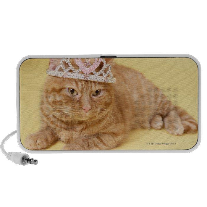 Cat wearing tiara speaker