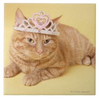 Cat wearing tiara large square tile
