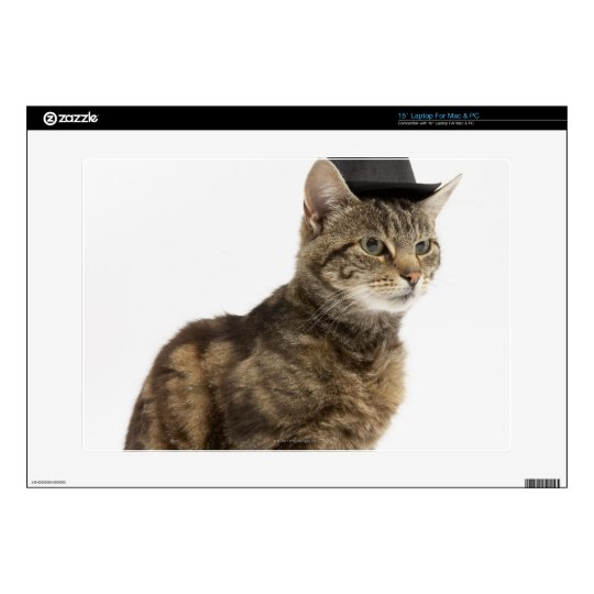 Cat wearing top hat decals for laptops