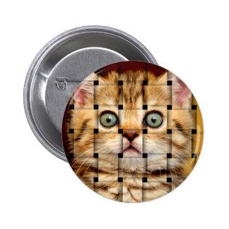 Cat Weave Pinback Button