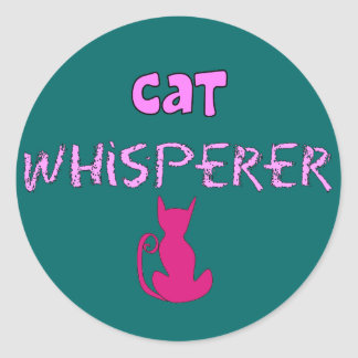 """Cat Whisperer"" Cat Lover Gifts Classic Round Sticker"