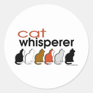 Cat Whisperer Round Stickers