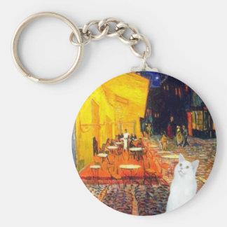Cat (white SH) - Terrace Cafe Basic Round Button Keychain