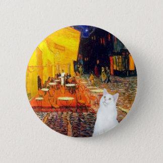 Cat (white SH) - Terrace Cafe Pinback Button