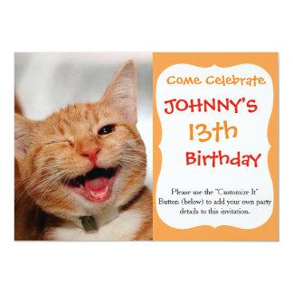 Cat winking - orange cat - funny cats - cat smile card