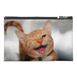 Cat winking - orange cat - funny cats - cat smile travel accessory bag