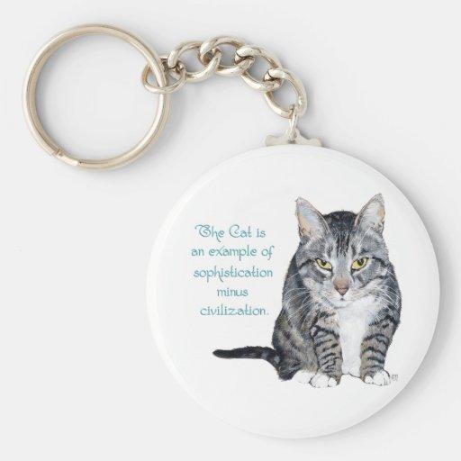 Cat Wisdom - Sophistication minus Civilization? Basic Round Button Keychain