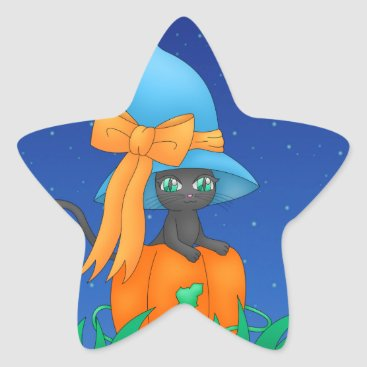 Halloween Themed Cat Witch sticker