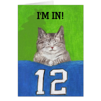 Cat with 12th Flag Christmas Card
