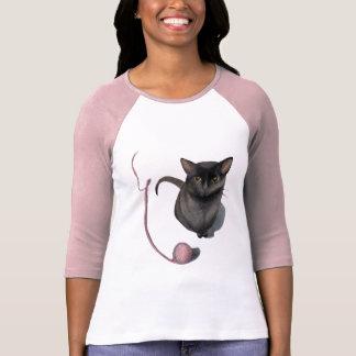 Cat with a Ball of Yarn Ladies Raglan T-Shirt