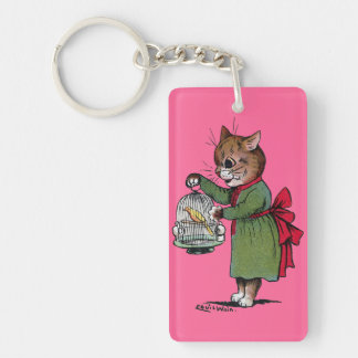 Cat with a Bird cage, Louis Wain Keychain