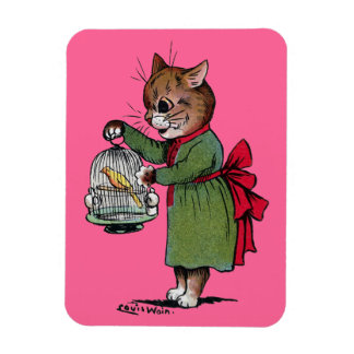 Cat with a Bird cage, Louis Wain Magnet