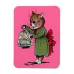 Cat with a Bird cage, Louis Wain Rectangle Magnets