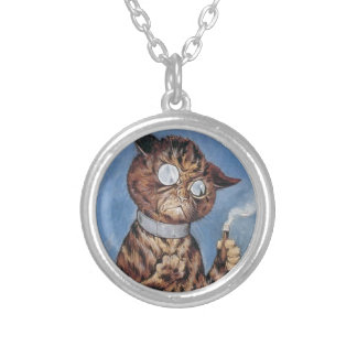 Cat With A Cigar Silver Plated Necklace