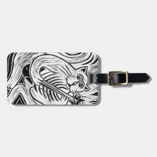 Cat with a Fish Guitar Luggage Tag
