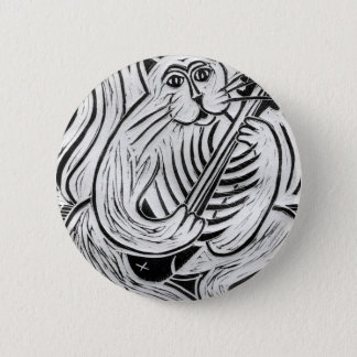 Cat with a Fish Guitar Pinback Button