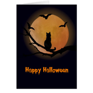 Cat with a full moon Halloween Card
