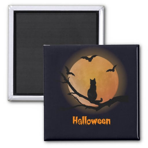 Cat with a full moon Halloween Magnet