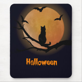 Cat with a full moon Halloween Mousepad