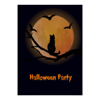Cat with a full moon Halloween Poster