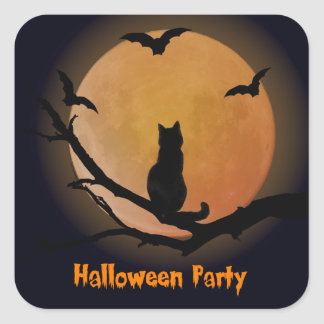 Cat with a full moon Halloween Square Sticker