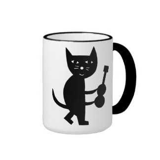 Cat With A Guitar Ringer Coffee Mug
