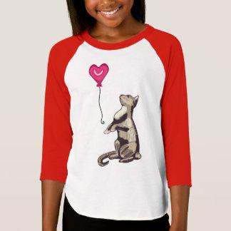 Cat with a Heart Balloon Girls' Raglan T-Shirt