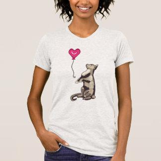 Cat with a Heart Balloon Women's Ash Grey T-Shirt