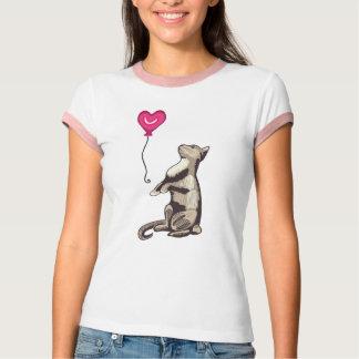 Cat with a Heart Balloon Women's Ringer T-Shirt