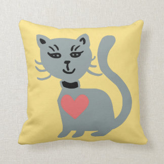 Cat With A Heart On Throw Pillow