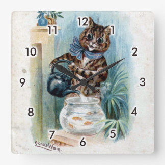 Cat with a kettle, Louis Wain Square Wall Clock
