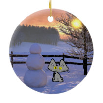 Cat With A Snowman Ceramic Ornament