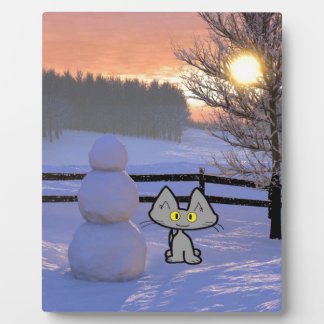 Cat With A Snowman Plaque
