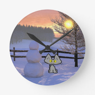 Cat With A Snowman Round Clock