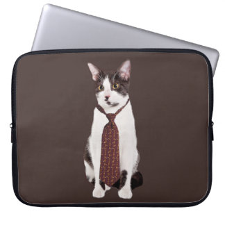 Cat With A Tie Computer Sleeve