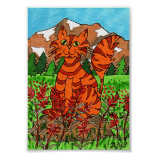 Cat with Alpine Indian Paintbrush Mini Folk Art Poster