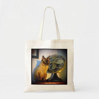 Cat with Antique Fan Canvas Bags