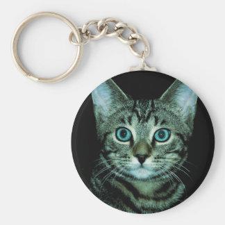 Cat with Aqua Eyes Customize pet house Eye Keychain