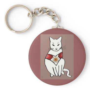 Aztec Themed Cat with Aztec Design Keychain