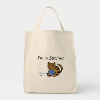 Cat with Ball of Yarn and Saying Tote Bag
