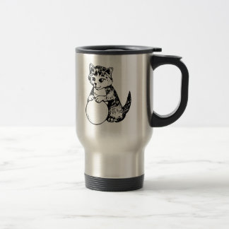 Cat with Ball of Yarn 15 Oz Stainless Steel Travel Mug