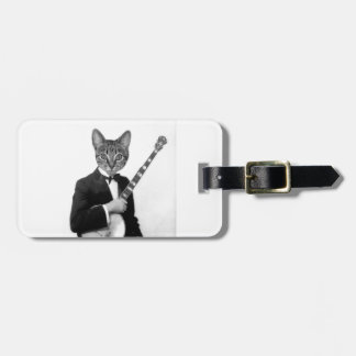 Cat with Banjo Luggage Tag