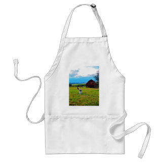 Cat with Barns Apron