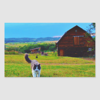 Cat with Barns Rectangular Sticker