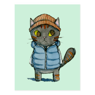 Cat with Beanie and Down Vest Watercolor Postcard